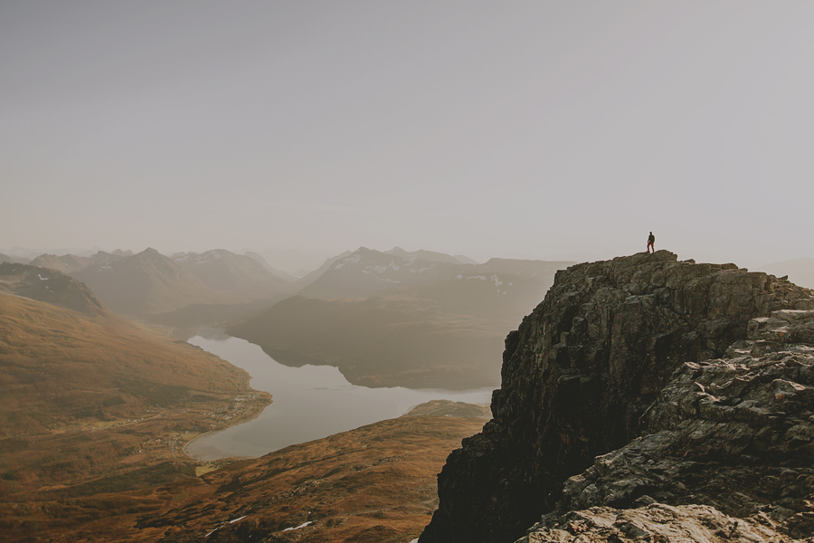 Boy on the top of the mountain