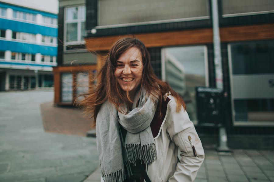 Girl smiling in Tromsø