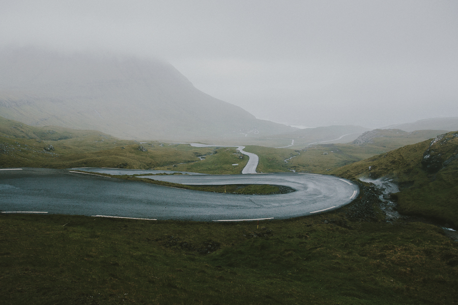 Wind road in Faroe Islands