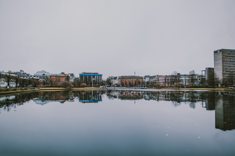 Bergen city reflected in water