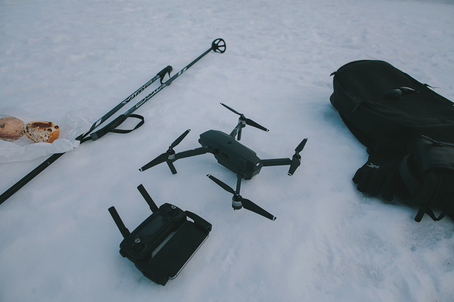 Drone standing on snow