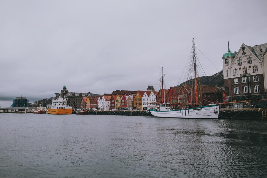 Boats by Bryggen in Bergen