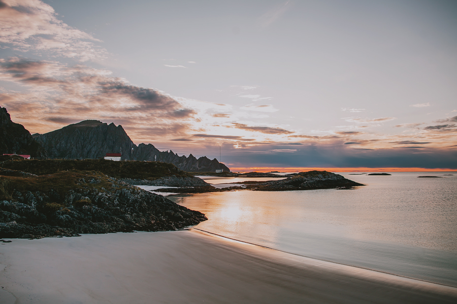 Pink sunset by the beach at Andenes