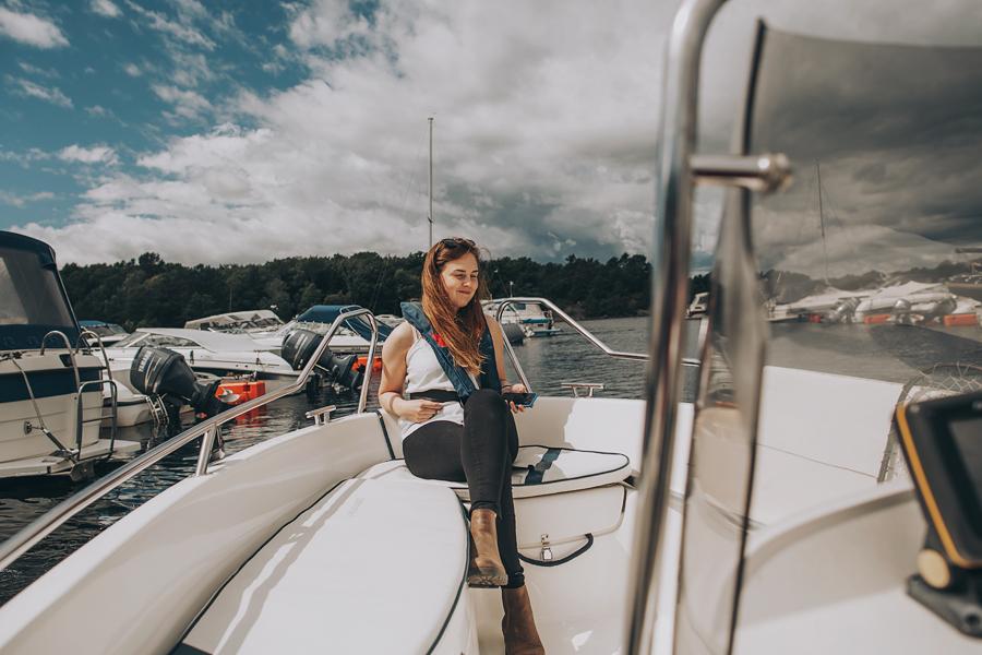 Girl sitting in a boat