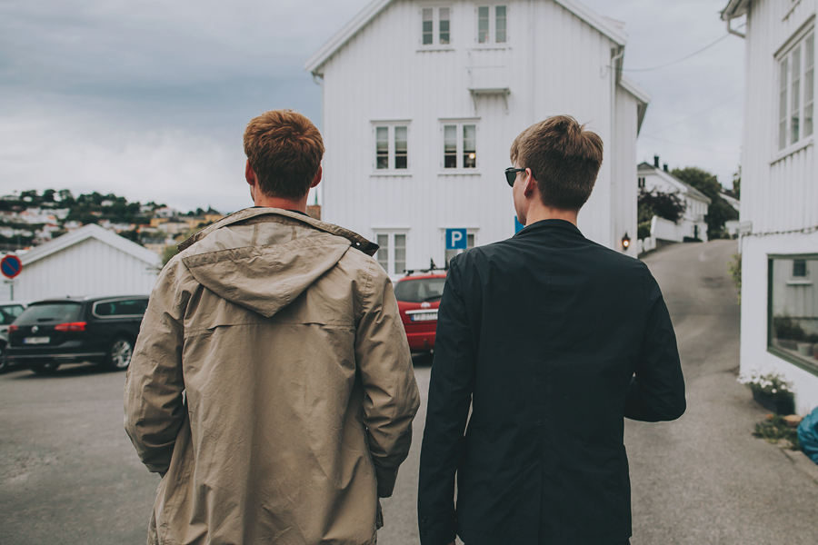 Two boys strolling the streets of Arendal