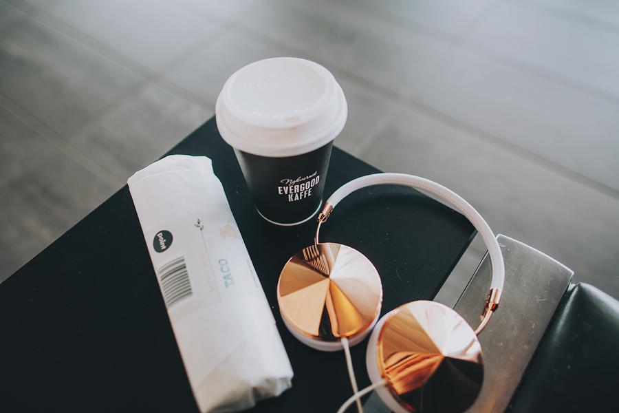 Headset, coffee and food