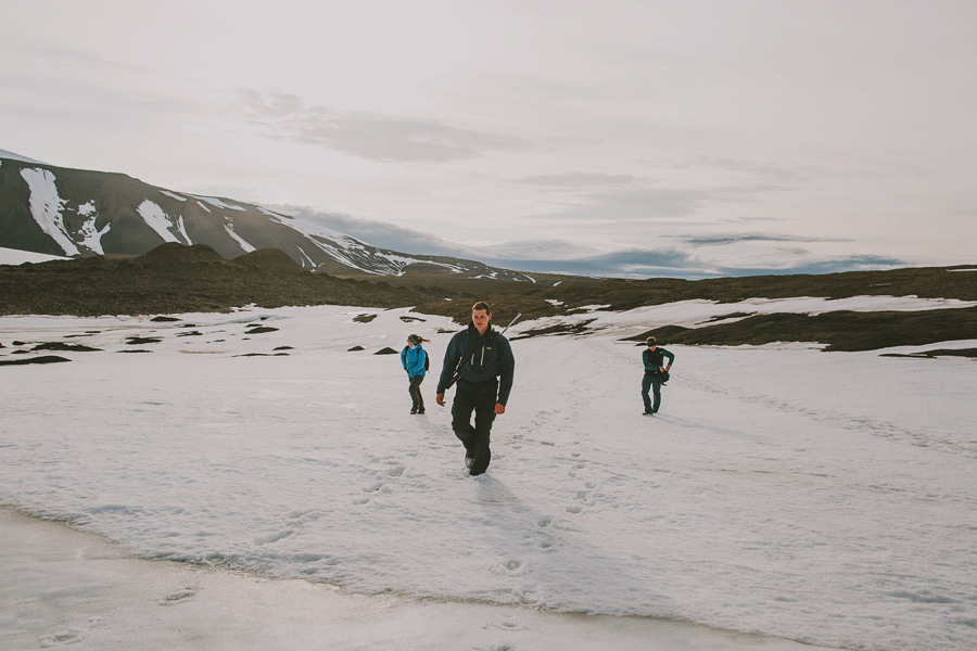 Students hiking in snow