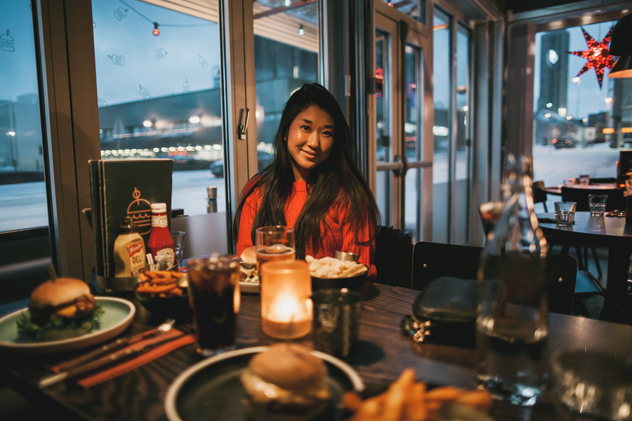 Girl at a restaurant