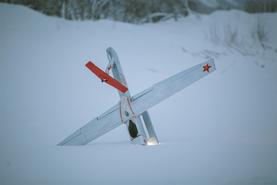 Fixed-wing drone crashed in the snow