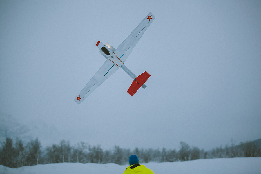 The fixed-wing drone in the air