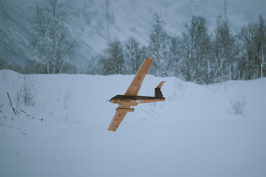 Fixed-wing drone in the snow