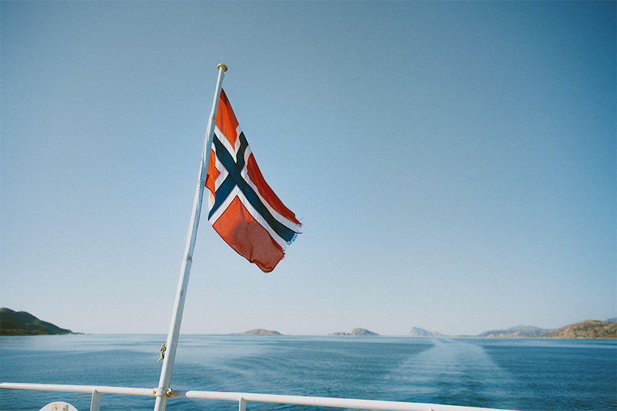 The Norwegian flag blowing in the wind