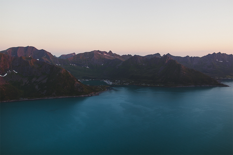 Blue ocean and mountain views from Hesten in Senja