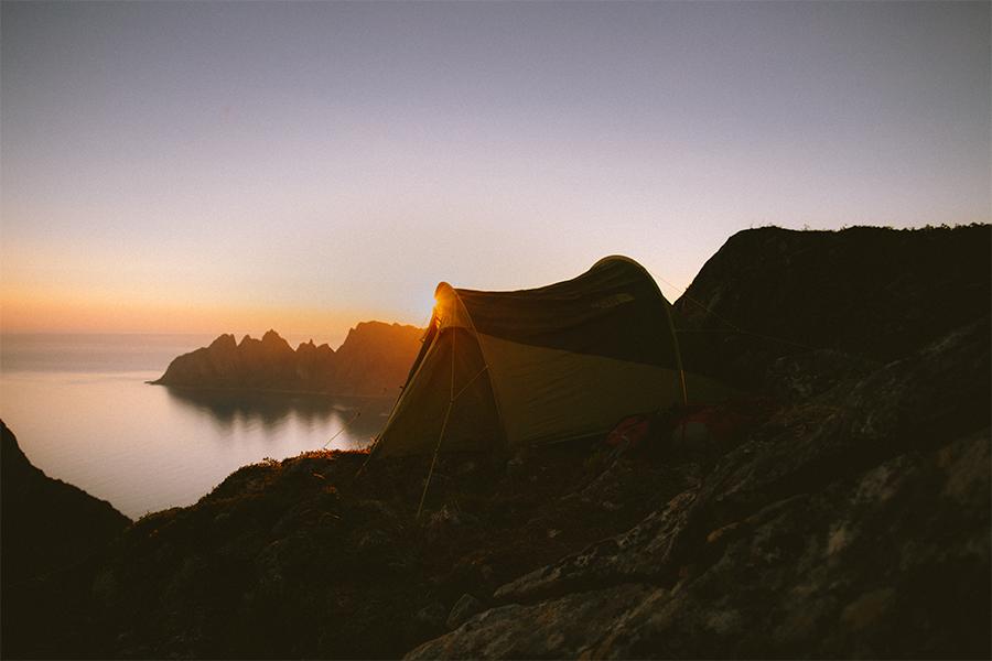 Tenting in Senja in midnight sun