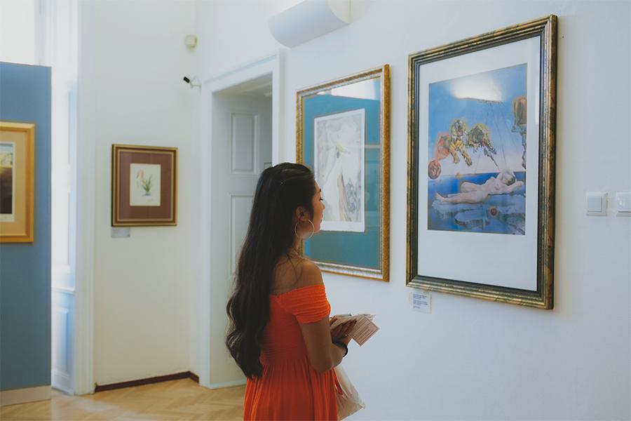 Girl looking at Salvador Dali