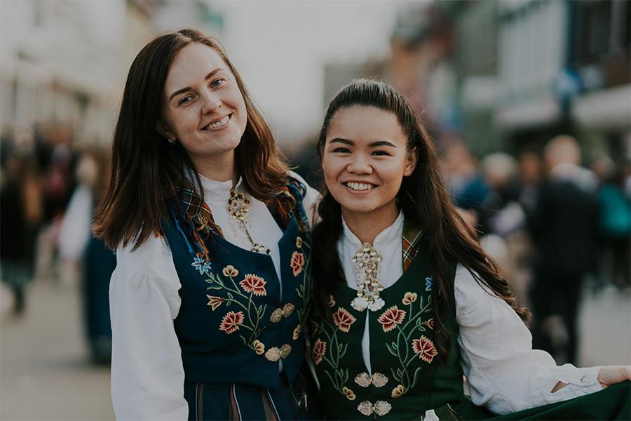 Girls celebrating 17th of May in Nordlandsbunad