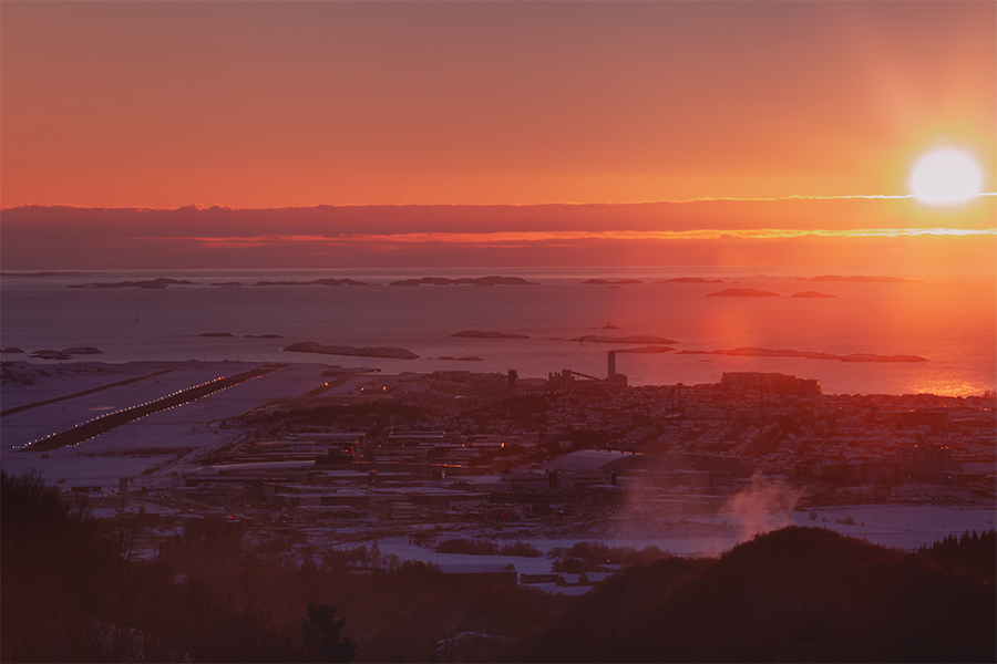 Sun setting over Bodø