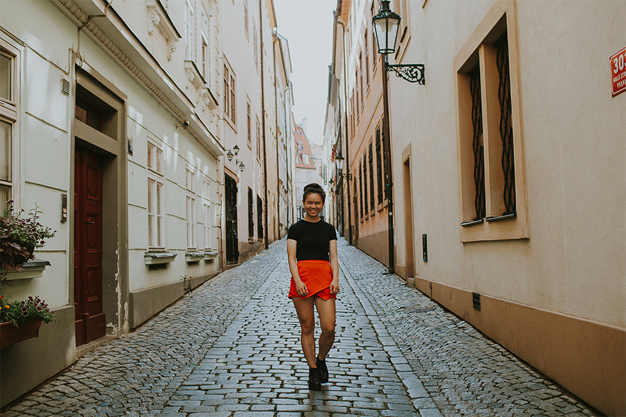 Girl in the streets of Prague