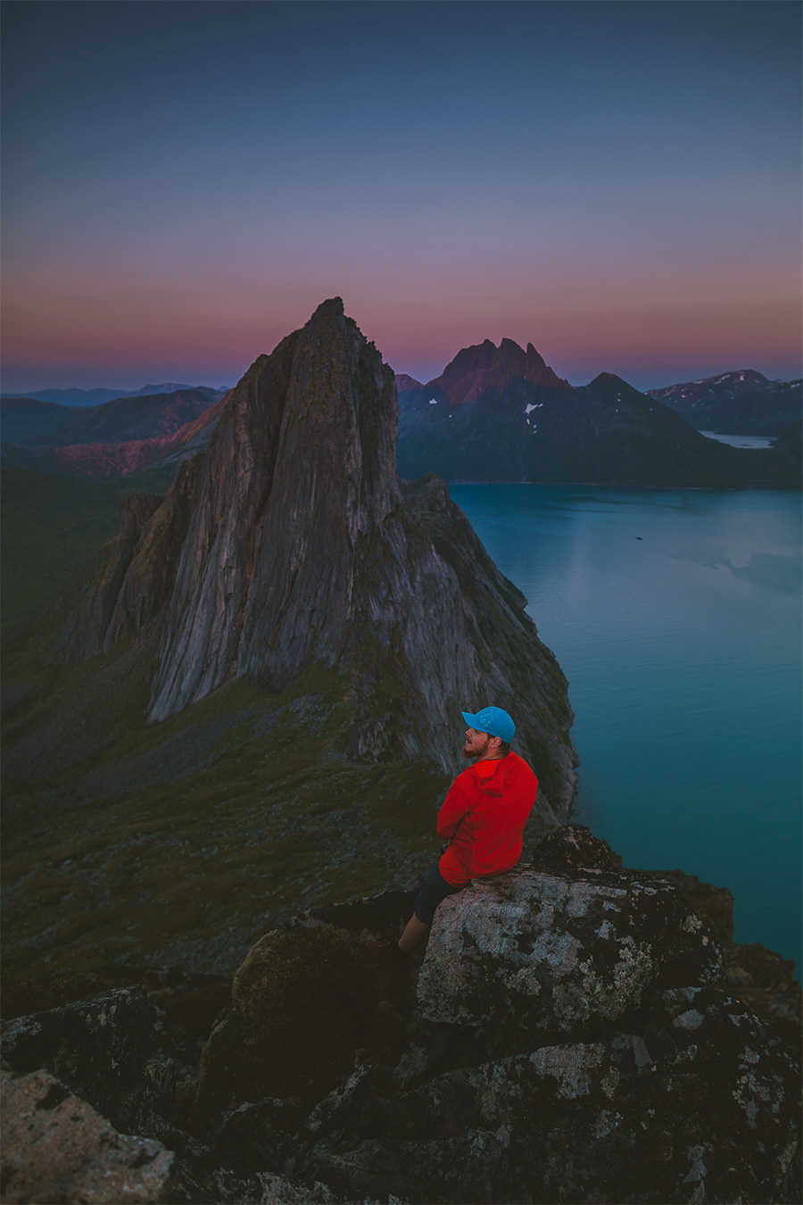 Man enjoying the sunset in Senja