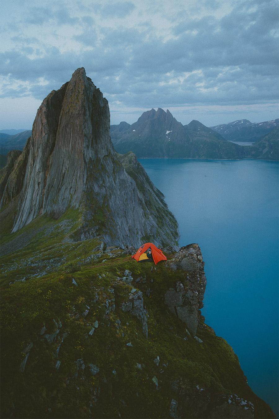 Orange tent in Senja