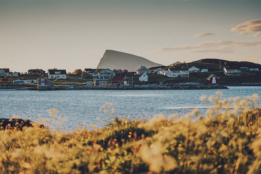 Sommarøy islands with the Håja mountain as a beautiful backdrop