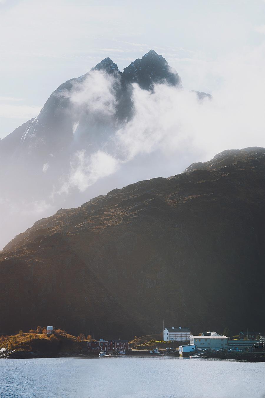 Foggy mountains in Lofoten