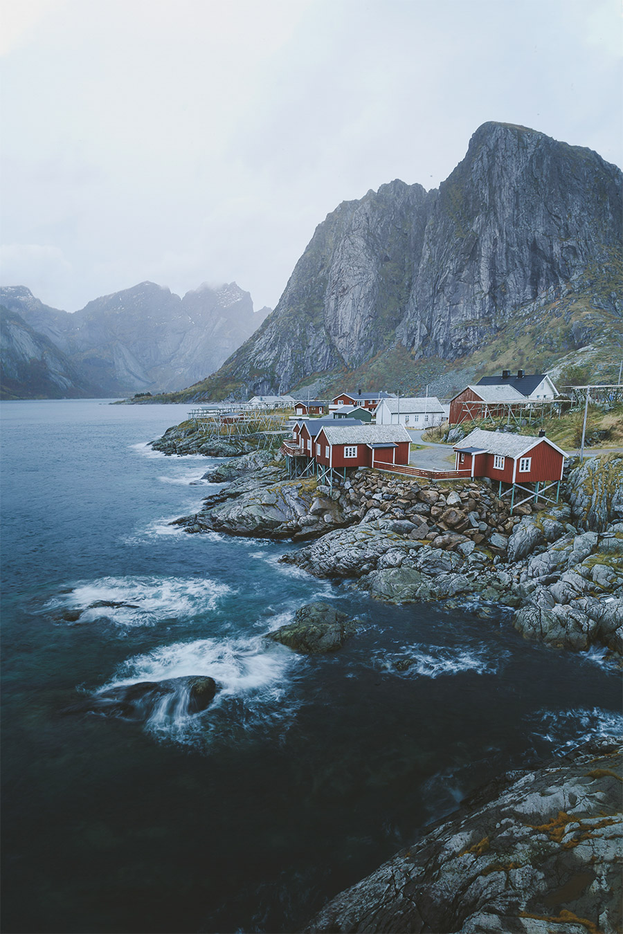 "Hamnøy's iconic red ""rorbuer"""