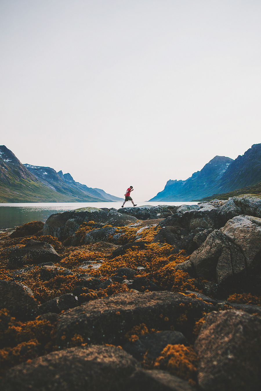 Guy going for a jump in Ersfjord