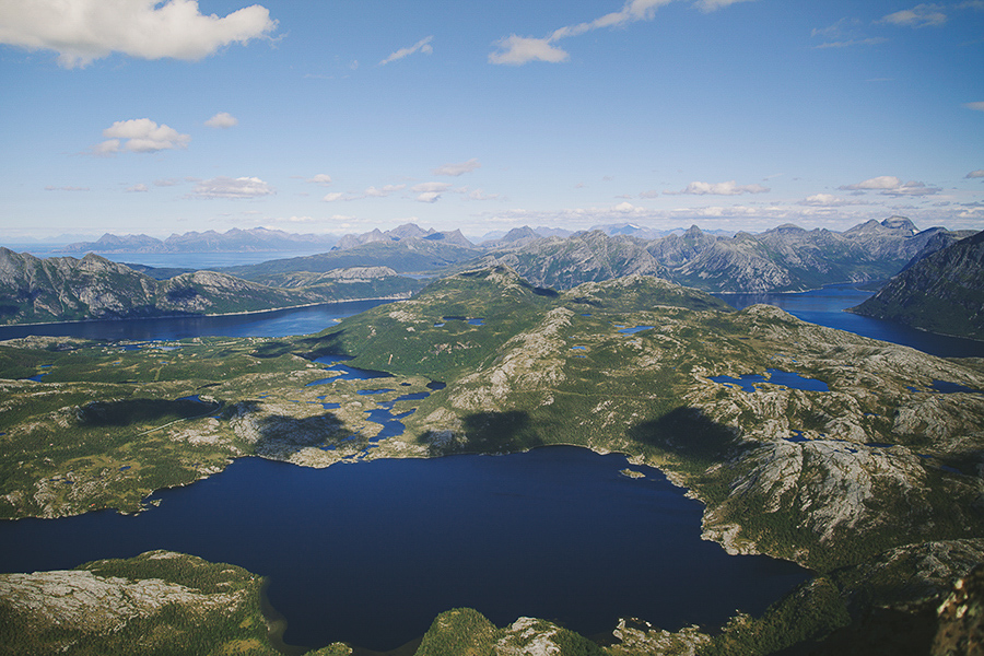 Norwegian landscape made of mountains and ocean