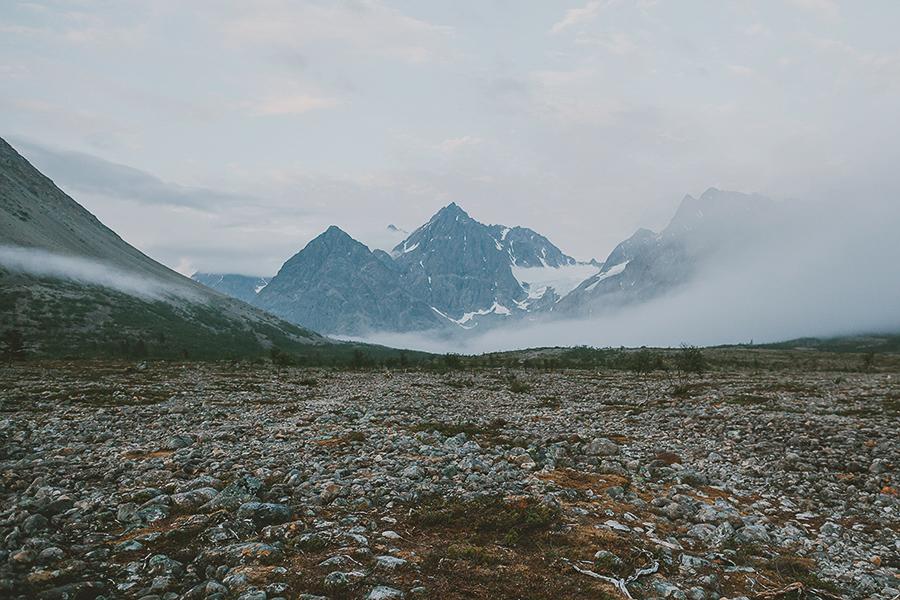 Lyngen alps covered in fog