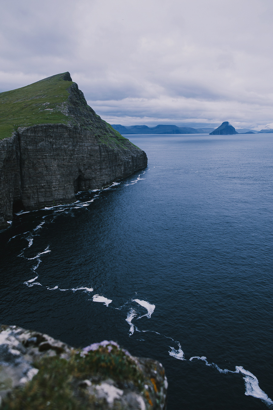 Blue ocean and mountains in Faroe Islands