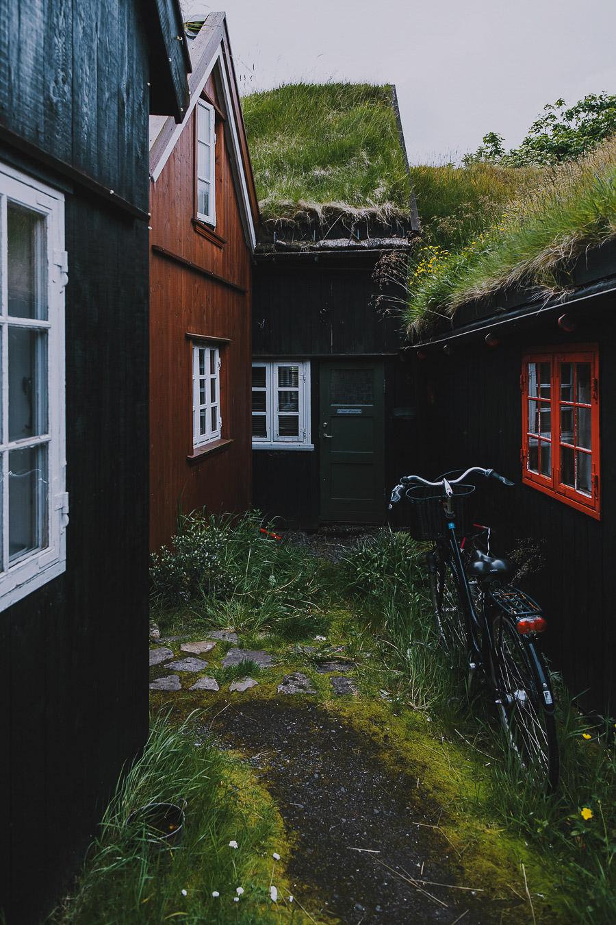 Small backyard of Torshavn in Faroe Islands