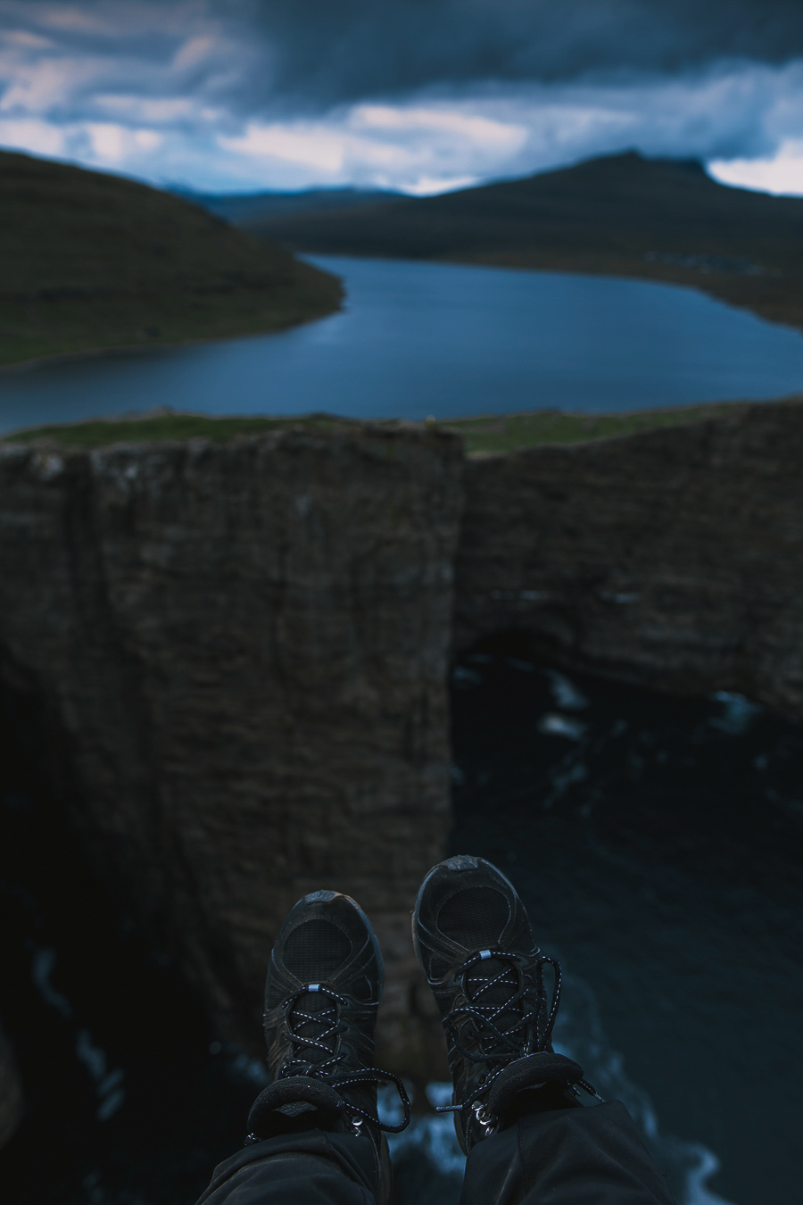 Shoes on the edge of a cliff
