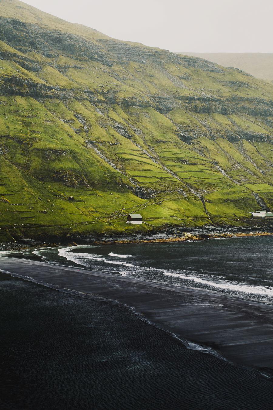 House by the black beach in Faroe Islands