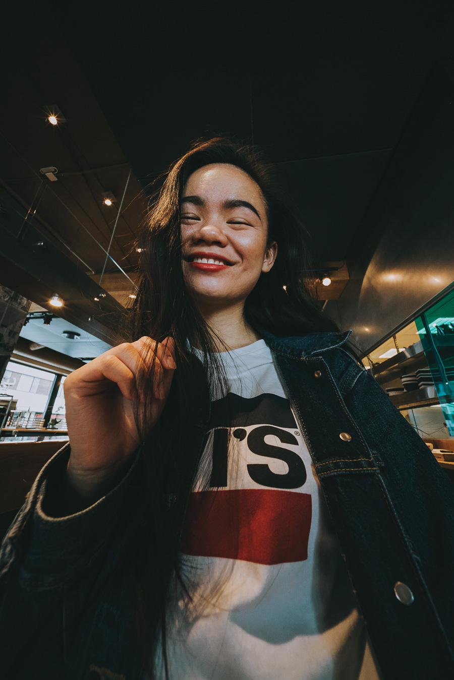 Girl smiling at a restaurant