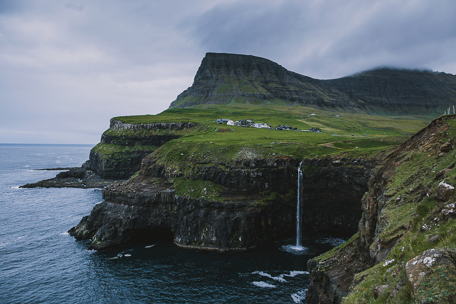 Waterfall and houses of Gásadalur