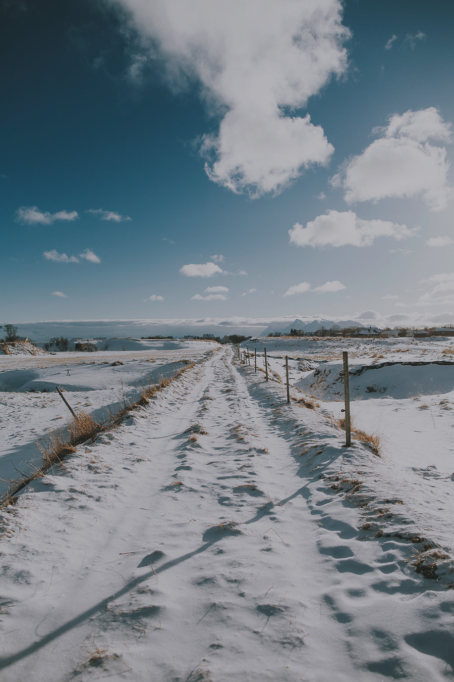 Snowy roads and blue sky