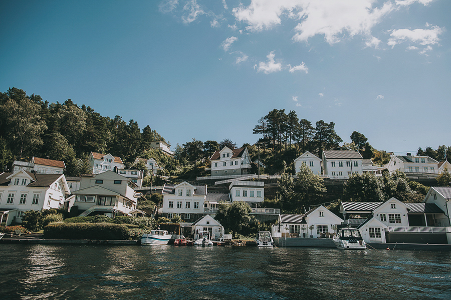 White houses by the ocean