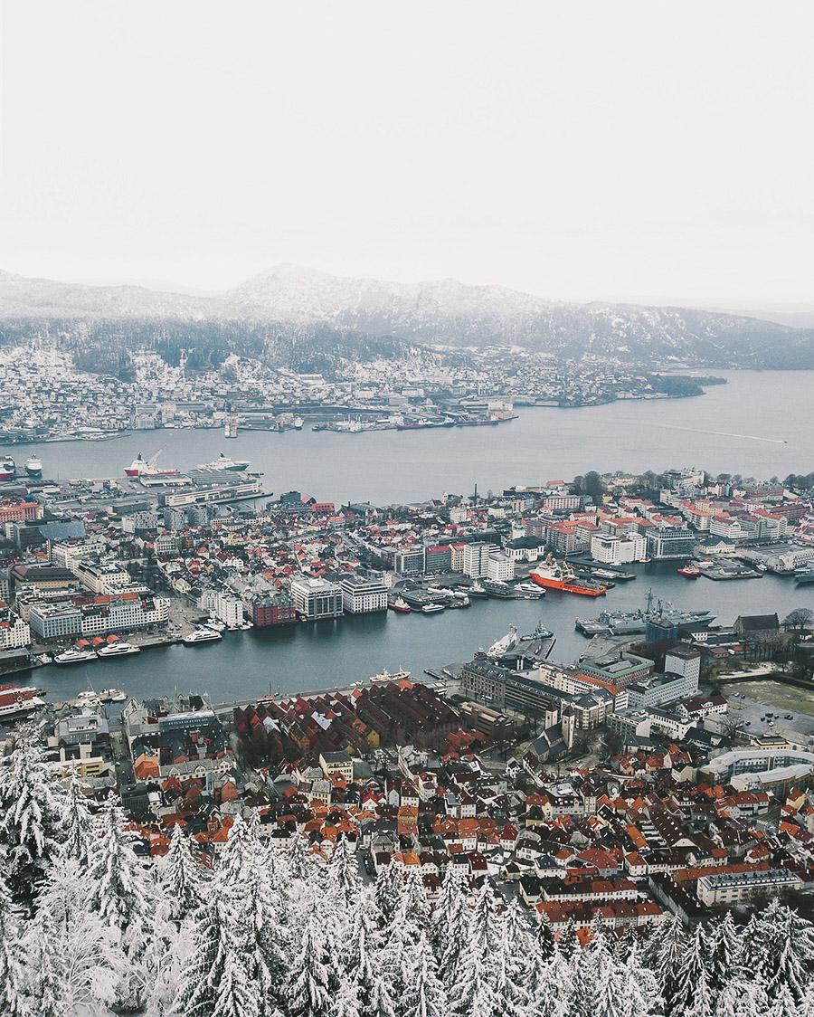 Aerial of Bergen city
