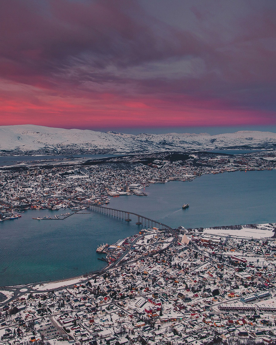 Pink sunset in Tromsø
