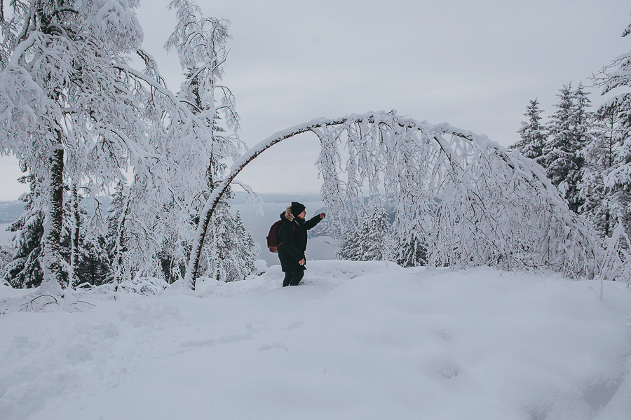 Snow covered landscape at Fløyen
