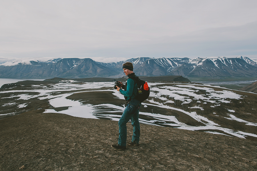 Boy photographing Svalbard