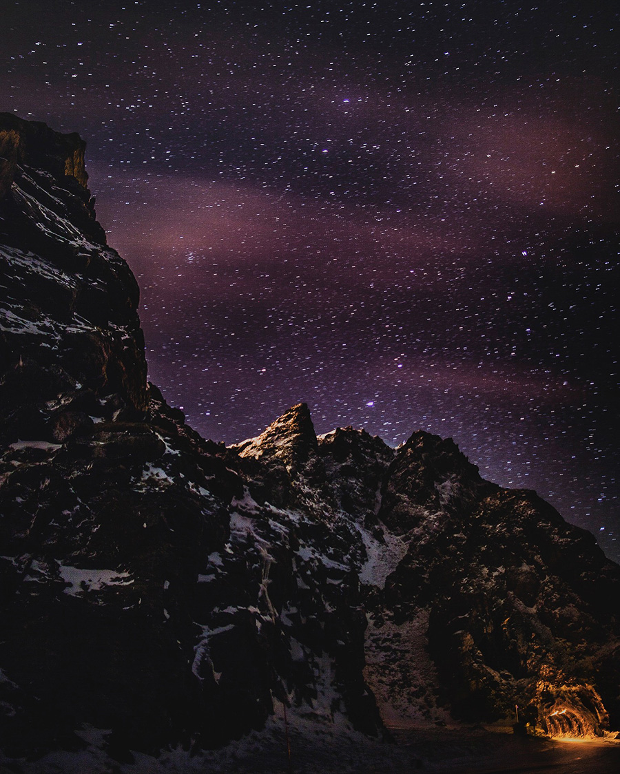 Mountains during night