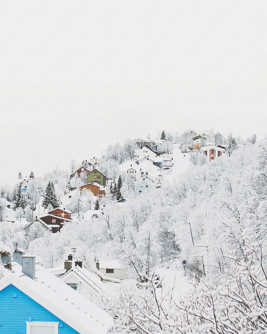 Colourful houses in midst of white snow