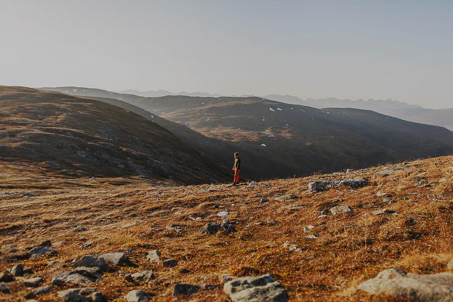Boy surrounded by a fantastic landscape