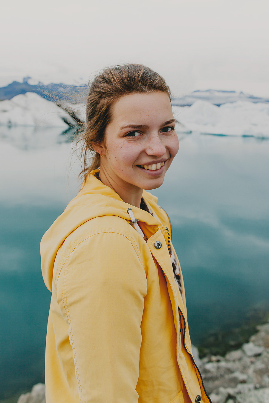 Portrait image of girl in Iceland