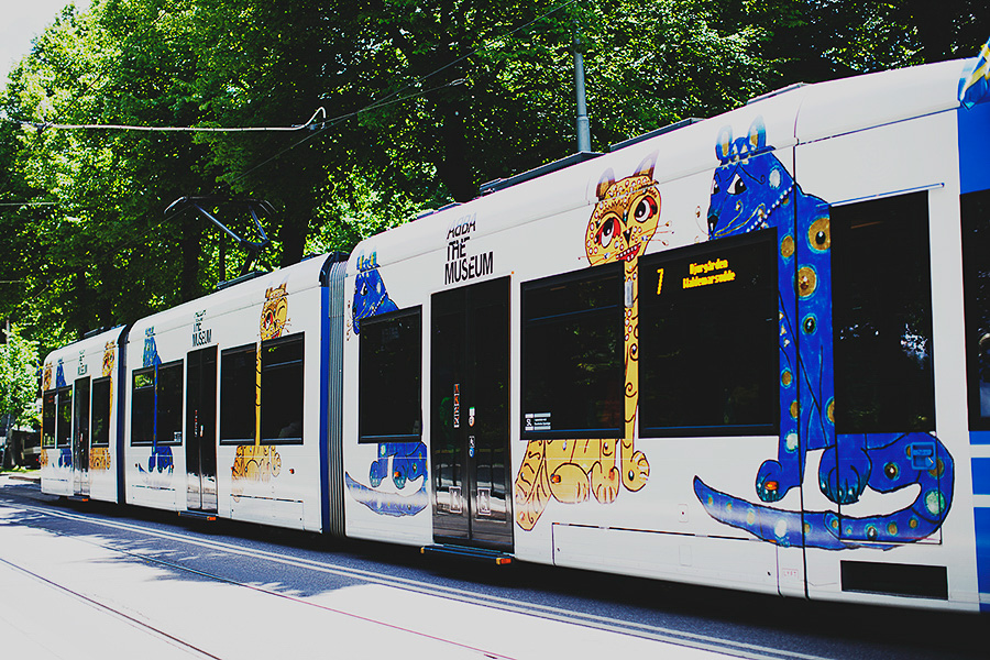 Decorated tram
