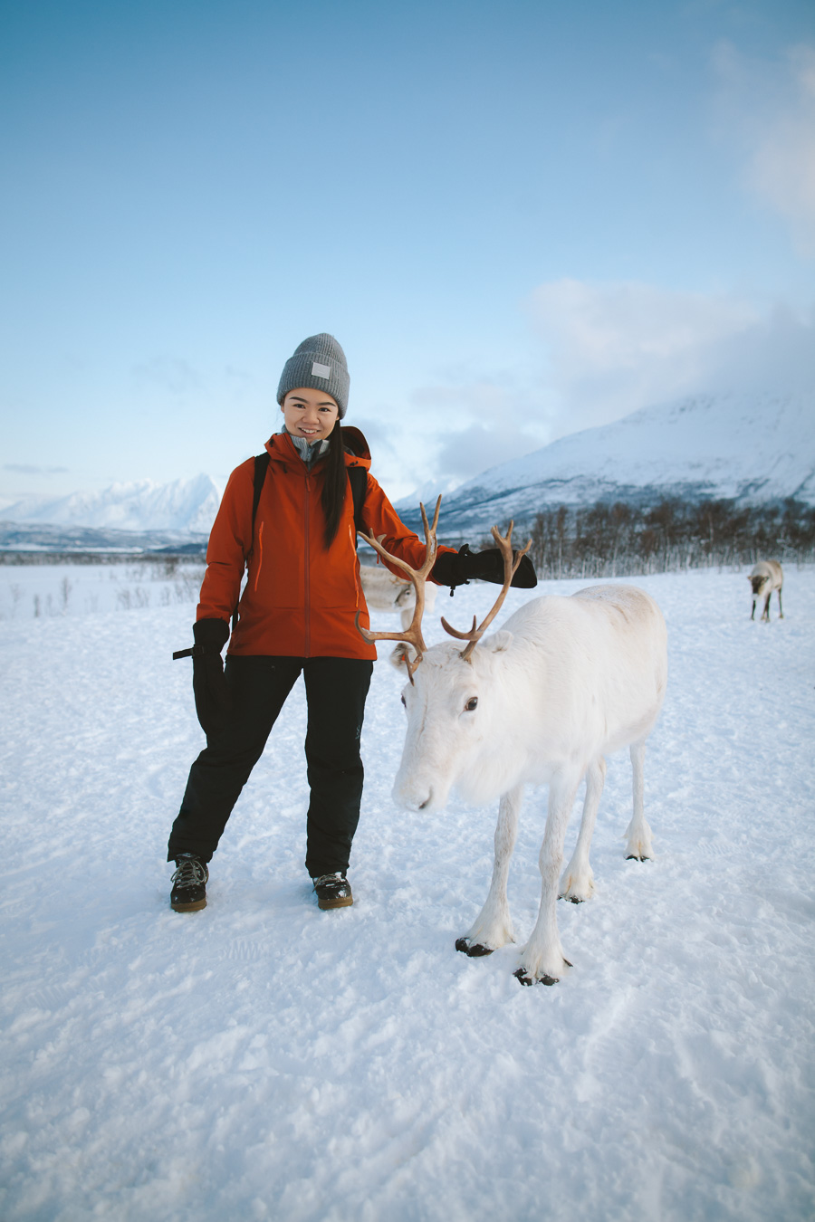 Girl and her white reindeer