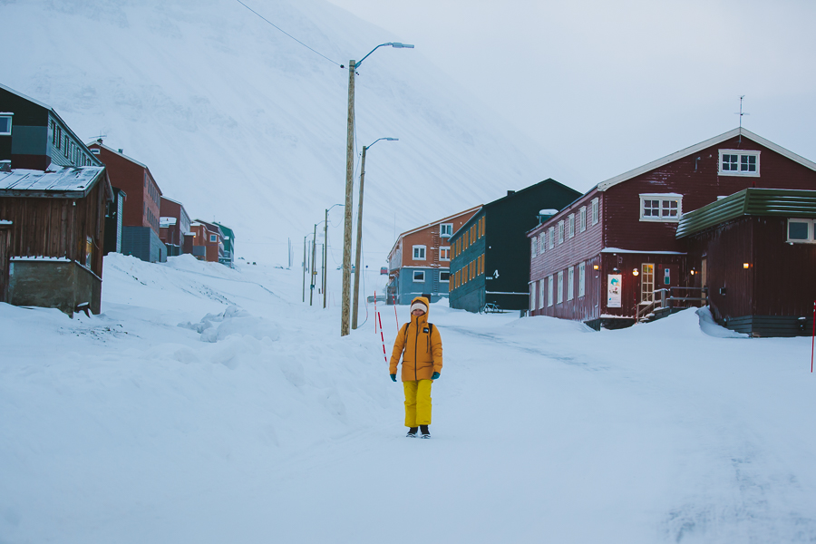 Tourist walking in Svalbard