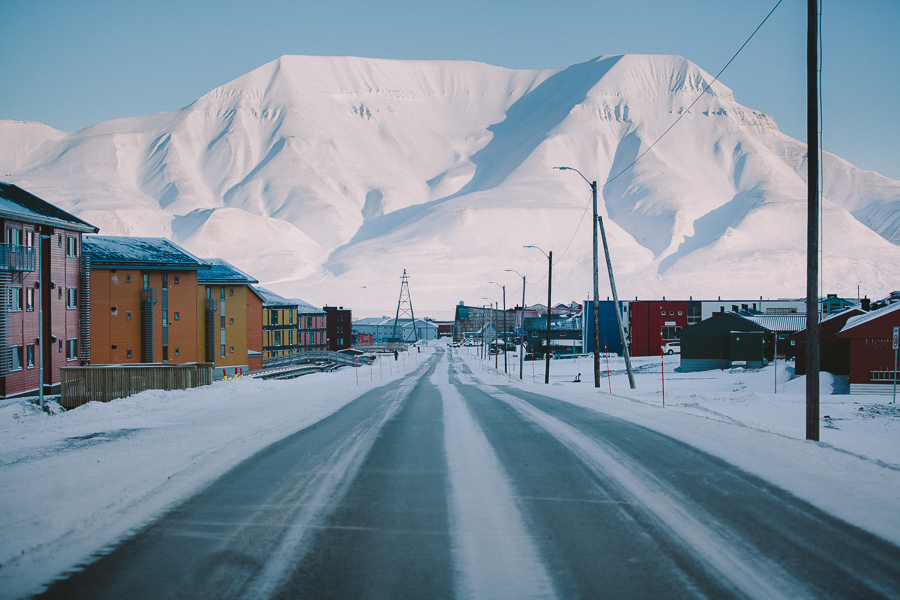 Mountains hovering over Longyearbyen